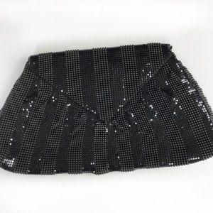 BCBGMaxAzria black mesh envelope clutch